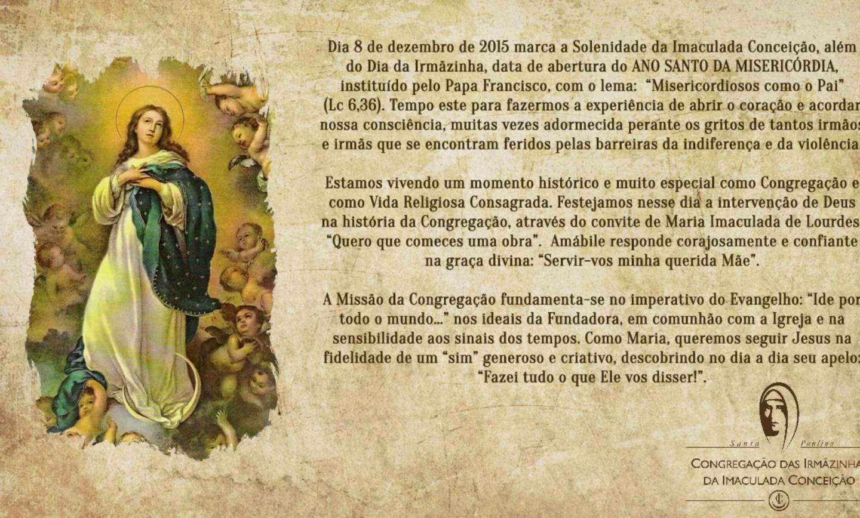 Dia da Imaculada Conceição e da Irmãzinha