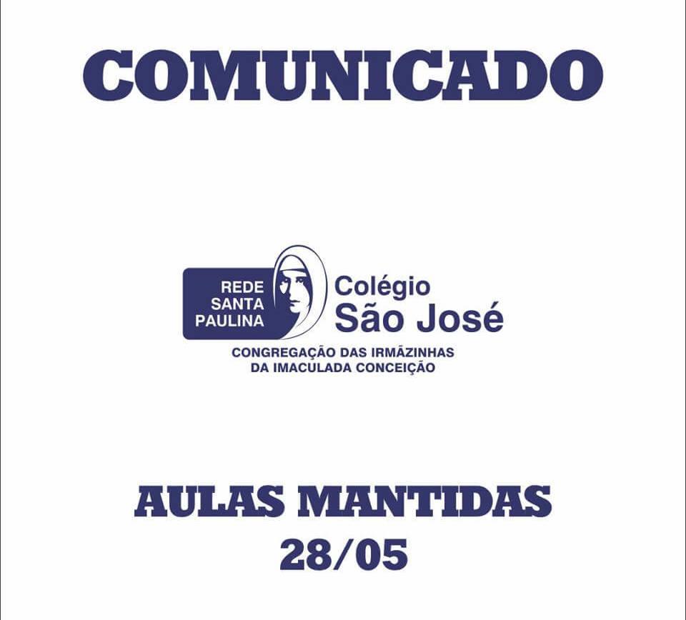 Comunicado – Aulas Mantidas